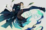 1boy absurdres albino_(a1b1n0623) bangs black_gloves black_hair copyright_name dynamic_pose english_text fate/grand_order fate_(series) fighting_stance full_body gloves glowing green_eyes hair_slicked_back highres jumping kicking long_sleeves looking_at_viewer magnifying_glass male_focus pants parted_bangs sherlock_holmes_(fate/grand_order) shoes smile solo sparkle