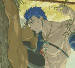 2boys abs archer armor automney bangs bara bare_shoulders blood blood_on_face blue_hair bound bound_wrists brown_eyes chest cu_chulainn_(fate)_(all) dark_skin dark_skinned_male earrings fate/stay_night fate_(series) from_side gae_bolg imminent_kiss jewelry lancer looking_at_viewer male_focus manly moon_necklace multiple_boys muscle necklace open_mouth polearm red_eyes shiny shiny_hair sleeveless smile spear tattoo toned toned_male tree upper_body weapon white_hair yaoi