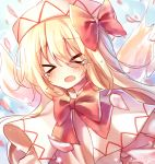 >_< 1girl artist_name bangs blonde_hair blush bow bowtie capelet crying dress eyebrows_visible_through_hair fairy_wings hair_between_eyes hat hat_bow highres light_particles lily_white long_hair open_mouth outdoors petals pudding_(skymint_028) red_bow red_neckwear signature sky solo tears touhou upper_body white_capelet white_dress white_headwear white_sleeves wings