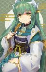 1girl absurdres blush breasts dragon_girl dragon_horns fan fate/grand_order fate_(series) folding_fan green_hair hair_ornament highres holding holding_fan horns japanese_clothes kimono kiyohime_(fate/grand_order) long_hair looking_at_viewer multiple_horns open_mouth same_(sendai623) sash sitting yellow_eyes