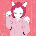 1girl animal_ears cat_ears check_translation copyright_request dated fingernails hands_up highres hood hood_down long_sleeves looking_at_viewer paw_pose pink_theme short_hair signature slit_pupils smile solo star_(symbol) tocky translation_request upper_body