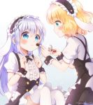 2girls animal_ears aqua_eyes bangs blonde_hair blue_eyes blush center_frills clenched_hands commentary eyebrows_visible_through_hair fake_animal_ears fleur_de_lapin_uniform floppy_ears frilled_hairband frills gochuumon_wa_usagi_desu_ka? gradient gradient_background hair_between_eyes hair_ornament hairband kafuu_chino kirima_sharo long_hair makeup makeup_brush medium_hair mozukun43 multiple_girls puffy_short_sleeves puffy_sleeves rabbit_ears short_sleeves simple_background thigh-highs twitter_username wavy_hair white_legwear wrist_cuffs x_hair_ornament