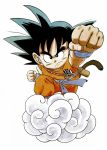1boy alternate_color arm_at_side armpit_peek black_eyes black_hair clenched_hands closed_mouth clothes_writing collarbone commentary dougi dragon_ball dragon_ball_(classic) fingernails flying_nimbus frown full_body highres looking_afar male_focus monkey_tail official_art outstretched_hand perspective serious shaded_face simple_background son_gokuu spiky_hair standing tail toriyama_akira v-shaped_eyebrows white_background wristband