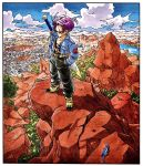 1boy animal belt black_pants black_shirt blue_eyes blue_sky boots border building bush capsule_corp city cityscape clouds cloudy_sky collarbone collared_jacket commentary crater day denim denim_jacket dragon_ball dragon_ball_z floating_hair frown hands_in_pockets highres horizon jacket lake lizard looking_down male_focus mountain mountainous_horizon official_art open_clothes open_jacket outdoors pants purple_hair rock serious shaded_face shadow shirt sky standing sword toriyama_akira tree trunks_(future)_(dragon_ball) water weapon white_border wide_shot yellow_footwear