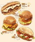 arrow_(symbol) beef bread_bun cheese chicken_(food) english_text food hamburger highres lettuce mayonnaise melting nao_(bestrollever) no_humans paper_towel salad sandwich swiss_cheese tomato