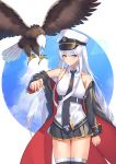 1girl absurdres azur_lane bald_eagle bare_shoulders bird black_coat black_legwear black_neckwear black_skirt blue_sky blush breasts clouds coat collarbone eagle enterprise_(azur_lane) eyebrows_visible_through_hair hair_between_eyes highres light_smile long_coat long_hair looking_at_viewer lordol medium_breasts necktie off-shoulder_coat pleated_skirt shirt silver_hair skirt sky sleeveless sleeveless_shirt solo thigh-highs very_long_hair violet_eyes white_background white_shirt