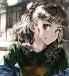 1girl audrey_hepburn bangs blue_jacket blunt_bangs blurry blurry_background braid braided_bun brown_hair closed_mouth code-aa day depth_of_field facing_viewer fine_art_parody green_shirt hair_bun half_updo idolmaster idolmaster_cinderella_girls idolmaster_cinderella_girls_starlight_stage jacket kamiya_nao looking_to_the_side medium_hair off-shoulder_jacket outdoors parody red_eyes shirt solo star_(symbol) t-shirt thick_eyebrows wavy_hair