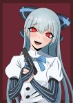 1girl blush bow eyebrows_visible_through_hair fangs girls_frontline gloves gun hair_bow handgun highres light_blue_hair long_hair looking_at_viewer open_mouth partly_fingerless_gloves pinstripe_pattern puffy_short_sleeves puffy_sleeves red_eyes rossam short_sleeves smile solo striped tokarev_(girls_frontline) tokarev_tt-33 trigger_discipline very_long_hair weapon