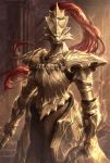 1boy absurdres armor blurry blurry_background breastplate chainmail commentary_request cowboy_shot dark_souls dragon_slayer_ornstein electricity gauntlets helmet highres holding_polearm looking_at_viewer michairu plume polearm shoulder_armor solo souls_(from_software) weapon