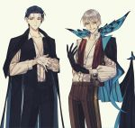 2boys absurdres adjusting_clothes adjusting_gloves albino_(a1b1n0623) bangs black_gloves black_hair blue_eyes bug butterfly chest collarbone facial_hair fate/grand_order fate_(series) formal gloves green_eyes grey_hair highres huge_filesize insect james_moriarty_(fate/grand_order) long_sleeves looking_at_viewer male_focus multiple_boys mustache open_clothes open_mouth open_shirt pants sherlock_holmes_(fate/grand_order) smile upper_body vest white_gloves