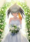 1girl alternate_costume bangs bare_shoulders blurry blurry_background blush bouquet bridal_veil bride dress earrings elbow_gloves eyebrows_visible_through_hair flower gloves green_eyes grey_hair guchico hair_between_eyes hair_ornament hairclip head_wings holding holding_bouquet japari_symbol jewelry kemono_friends looking_at_viewer multicolored_hair necklace orange_hair shoebill_(kemono_friends) short_hair signature single_sidelock solo strapless tiara tsurime two-tone_hair v-shaped_eyebrows veil wedding_dress white_dress white_gloves