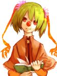 1girl book clown_nose commentary_request green_hair hair_ribbon head_tilt holding holding_book layered_clothing long_sleeves neck orange_sleeves original qwertyuiop12314 red_ribbon ribbon ringed_eyes shawl simple_background smile solo twintails upper_body white_background