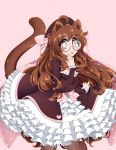 1girl absurdres animal_ears bangs black_legwear bow breasts brown_eyes brown_hair cat_ears cat_tail commission doopiedoover glasses hair_bow heart highres large_breasts long_sleeves looking_at_viewer original pantyhose parted_bangs pink-framed_eyewear pink_bow round_eyewear solo tail