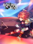 1girl boiling_bolt copyright_name ctiahao dynamic_pose english_commentary floating_hair green_eyes jumping june_(boiling_bolt) logo looking_at_viewer motion_blur redhead