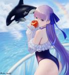 1girl absurdres animal apple ass back bangs bare_shoulders biting blue_eyes blue_ribbon choker clouds commentary day eating eyebrows_visible_through_hair fate/grand_order fate_(series) food frills fruit glass hair_ribbon highleg highleg_swimsuit highres huge_filesize long_hair long_sleeves looking_at_viewer meltryllis meltryllis_(swimsuit_lancer)_(fate) ocean off-shoulder_swimsuit one-piece_swimsuit orca outdoors puffy_sleeves purple_hair railing rainbow ribbon seoyul sky sleeves_past_fingers sleeves_past_wrists splashing swimsuit thighs twitter_username very_long_hair water