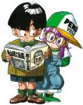 1boy 1girl :o absurdres alternate_costume bandaid bandaid_on_cheek baseball_cap black_eyes black_hair book bow bowl_cut bowtie brown-framed_eyewear brown_footwear clothes_writing commentary creator_connection crossover dr._slump dragon_ball dragon_ball_z dress_shirt eyelashes fingernails full_body glasses green_footwear green_legwear green_neckwear hat highres holding holding_book jacket leaning leaning_to_the_side loafers long_sleeves looking_at_another looking_to_the_side norimaki_arale official_art open_book overalls plaid_jacket purple_hair shiny shiny_hair shirt shoes shorts simple_background socks son_gohan standing straight_hair toriyama_akira toriyama_akira_(character) violet_eyes white_background white_shirt wide-eyed yellow_jacket