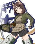 1girl ammo_box animal_ears bangs black_shirt brown_eyes brown_hair brown_sweater closed_mouth commentary_request cropped_jacket crotch_seam diffraction_spikes dog_ears dog_tail drawing_sword emblem floating green_jacket gun head_tilt highres holding holding_gun holding_sword holding_weapon isle_of_wight_detachment_group_(emblem) jacket kadomaru_misa kaneko_(novram58) long_sleeves looking_at_viewer medium_hair no_pants panties partial_commentary ribbed_sweater shirt silhouette smile solo strike_witches striker_unit sweater sword tail turtleneck turtleneck_sweater underwear weapon white_panties world_witches_series