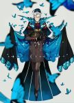 2boys absurdres albino_(a1b1n0623) back-to-back bangs black_gloves black_hair blue_eyes bug butterfly facial_hair fate/grand_order fate_(series) formal full_body glasses gloves grey_hair high_collar highres huge_filesize insect james_moriarty_(fate/grand_order) long_sleeves looking_at_viewer male_focus multiple_boys mustache pants sherlock_holmes_(fate/grand_order) shoes smile vest