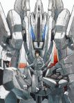 1boy absurdres black_eyes black_hair comiket_97 deraken helmet highres holding holding_helmet holding_person looking_at_viewer looking_down mecha pilot_suit short_hair sidonia_no_kishi tanikaze_nagate tsugumori