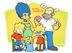 2boys 3girls =3 baby bart_simpson blue_eyes blue_hair blue_pants blue_shorts blush breasts copyright_name doughnut dress english_commentary food green_dress grin heart highres homer_simpson lisa_simpson long_hair maggie_simpson marge_simpson multiple_boys multiple_girls musical_note open_mouth orange_dress pants rariatto_(ganguri) saliva shirt shorts simple_background skateboard smile spoken_heart spoken_musical_note standing the_simpsons twitter_username white_shirt