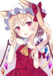 1girl animal_ear_fluff animal_ears ascot bangs blonde_hair blush cat_ears cat_tail commentary_request crystal eyebrows_visible_through_hair flandre_scarlet hat kemonomimi_mode long_hair looking_at_viewer mob_cap nibosi open_mouth paw_pose pink_eyes side_ponytail smile solo tail touhou wings yellow_neckwear
