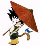 1boy :o animal bird bird_on_tail black_eyes black_hair boots commentary curious dougi dragon_ball dragon_ball_(classic) from_behind full_body highres holding holding_umbrella looking_back male_focus monkey_tail nape nyoibo official_art oriental_umbrella pale_skin simple_background son_gokuu spiky_hair surprised tail toriyama_akira umbrella white_background wide-eyed wristband yellow_footwear
