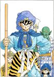 4boys alternate_costume animal_print aqua_pants black_eyes blue_cape blue_headwear border cape chest chinese_clothes clothes_around_waist clothes_writing collarbone commentary crossover crown diadem dragon_ball dragon_ball_z fingernails frown grin hand_on_hip hat highres holding holding_weapon jewelry journey_to_the_west kuririn looking_at_viewer male_focus multiple_boys nyoibo official_art pants piccolo pointy_ears robe serious shaded_face simple_background smile son_gohan son_gokuu standing tiger_print toriyama_akira upper_body weapon white_background white_border