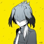 1girl closed_mouth dated hair_between_eyes head_wings highres jacket kemono_friends looking_at_viewer necktie sanpaku shoebill_(kemono_friends) side_ponytail signature solo tocky upper_body yellow_background