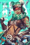 1girl alternate_costume alternate_hair_color apex_legends bandana bare_shoulders breasts brown_eyes brown_gloves brown_lips character_name closed_mouth commentary_request dark_skin double_bun drone earrings eyelashes facepaint gloves green_hair green_scarf hair_ornament highres jewelry leaning_to_the_side lifeline_(apex_legends) lips looking_at_viewer mizutama_(mao11260510) navel nose scarf short_hair shoulder_tattoo skull_hair_ornament small_breasts solo stomach strapless suspenders tattoo tubetop twitter_username w
