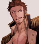1boy bara beard blue_eyes brown_hair chest close-up collar cropped_torso epaulettes facial_hair fate/grand_order fate_(series) fringe_trim goatee highres jacket looking_to_the_side male_focus manly military military_uniform muscle napoleon_bonaparte_(fate/grand_order) open_clothes open_jacket open_mouth open_shirt pectorals raised_eyebrow scar shoujosuke sideburns simple_background smile solo unbuttoned uniform upper_body