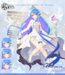1girl absurdres alternate_costume animal azur_lane bird blue_hair bouquet bridal_veil bride dove dress earrings expression_chart flower full_body gloves hair_flower hair_ornament headgear helena_(azur_lane) highres huge_filesize jewelry layered_dress leg_garter long_hair ribbon solo vayneeeee veil violet_eyes wedding_dress white_dress white_gloves