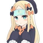 1girl abigail_williams_(fate/grand_order) bangs black_bow black_dress black_headwear blonde_hair blue_eyes blush bow breasts dress fate/grand_order fate_(series) forehead hair_bow hat keyhole long_hair mask mask_on_head mouth_mask multiple_bows open_mouth orange_bow parted_bangs polka_dot polka_dot_bow ribbed_dress shimokirin simple_background sleeves_past_fingers sleeves_past_wrists small_breasts surgical_mask white_background