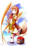 1girl absurdres alternate_costume animal_ear_fluff animal_ears bangs blush brown_hair child closed_mouth floating_hair floral_print food fruit fudo_shin highres holding holding_food holding_fruit holo japanese_clothes kimono long_hair long_sleeves looking_at_viewer print_kimono red_apple red_eyes shiny shiny_hair signature simple_background smile solo spice_and_wolf tabi tail very_long_hair walking wheat white_background white_legwear wide_sleeves wolf_ears wolf_tail younger