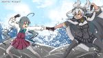 2girls ahoge black_gloves black_legwear black_skirt brown_eyes cape chiwa_(chiwa0617) commentary_request dark_skin dated fist_bump g_gundam glasses gloves grey_eyes grey_hair grey_legwear gundam hair_between_eyes hair_bun halterneck headgear highres kantai_collection kikumon kiyoshimo_(kantai_collection) long_hair low_twintails multiple_girls musashi_(kantai_collection) pantyhose partly_fingerless_gloves pleated_skirt pose remodel_(kantai_collection) school_uniform semi-rimless_eyewear shirt silver_hair skirt sleeves_rolled_up thigh-highs twintails twitter_username two_side_up very_long_hair waves white_shirt