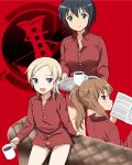 3girls 504th_joint_fighter_wing 504th_joint_fighter_wing_(emblem) :d bangs black_hair blonde_hair blue_eyes book brown_eyes brown_hair coffee coffee_mug commentary couch cup dress_shirt english_text fernandia_malvezzi from_behind green_eyes hair_tie highres holding holding_book holding_cup holding_tray kaneko_(novram58) long_sleeves looking_at_viewer looking_back luciana_mazzei martina_crespi medium_hair mug multiple_girls no_pants on_couch open_mouth panties partially_unbuttoned ponytail red_panties red_shirt red_theme shirt short_hair sitting smile standing tray underwear wing_collar world_witches_series