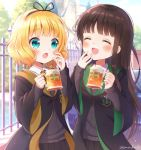 2girls :d :o ^_^ aqua_eyes bangs black_robe blonde_hair blunt_bangs blush brown_hair closed_eyes commentary_request cup day emblem eyebrows_visible_through_hair facing_another fence foam_mustache gochuumon_wa_usagi_desu_ka? hair_ribbon hand_to_own_mouth harry_potter hogwarts_school_uniform holding holding_cup hufflepuff kirima_sharo long_hair looking_at_another mozukun43 mug multiple_girls open_mouth outdoors ribbon robe school_uniform short_hair slytherin smile twitter_username ujimatsu_chiya white_ribbon wide_sleeves wing_collar