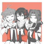 3girls absurdres ahoge arm_over_shoulder bangs bow colorized double-breasted double_bun fingerless_gloves flat_chest forehead_protector gloves hachimaki hair_between_eyes hair_bow hair_ornament hair_scrunchie headband highres jintsuu_(kantai_collection) kantai_collection long_hair looking_at_viewer multiple_girls naka_(kantai_collection) neckerchief open_mouth parted_bangs puffy_short_sleeves puffy_sleeves remodel_(kantai_collection) ribbon sailor_collar scarf school_uniform scrunchie sendai_(kantai_collection) serafuku short_hair short_sleeves smile tocky two_side_up v wristband