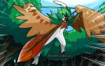 absurdres arrow_(projectile) bird blue_sky bow_(weapon) commentary decidueye deviantart_username emphasis_lines english_commentary flying gen_7_pokemon grass harlequinwaffles highres holding holding_arrow holding_bow_(weapon) holding_weapon mixed-language_commentary no_humans outdoors owl pokemon pokemon_(creature) signature sky solo spanish_commentary speed_lines spread_wings starter_pokemon talons tree watermark weapon web_address wings