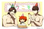 1girl 2boys arm_support bangs birthday_cake blowing brown_hair cake chibi cross eyebrows_visible_through_hair fate/grand_order fate/stay_night fate/zero fate_(series) food fujimaru_ritsuka_(female) hair_between_eyes hat kaikodou_kana kotomine_kirei medium_hair multiple_boys muscle open_mouth orange_hair parted_bangs party_hat party_popper plate side_ponytail time_paradox topless yellow_eyes