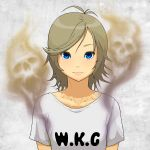 1girl antenna_hair bangs blue_eyes brown_hair closed_mouth clothes_writing ghost highres looking_at_viewer original shirt short_hair short_sleeves skull smell smile solo swept_bangs tocky upper_body white_shirt