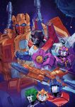 blue_eyes bumblebee coralus cybertron glowing glowing_eyes highres hound_(transformers) mecha nautica no_humans optimus_prime red_eyes robot science_fiction sentinel_prime space space_craft starscream transformers