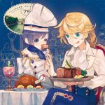 2boys :q amputee androgynous blonde_hair blue_eyes boned_meat chef_hat chicken_(food) eating feeding food fork hat heterochromia holding holding_fork long_hair male_focus meat missing_limb multiple_boys nishihara_isao original plate purple_hair quadruple_amputee short_hair sitting steak tongue tongue_out violet_eyes yellow_eyes