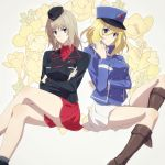 1girl 2girls amazuki_jou bangs bc_freedom_(emblem) bc_freedom_military_uniform black_footwear black_headwear black_jacket black_legwear blonde_hair blue_eyes blue_headwear blue_jacket blue_vest boots closed_mouth crossed_arms crossed_legs dress_shirt emblem eyebrows_visible_through_hair floral_background flower garrison_cap girls_und_panzer hand_in_hair hat high_collar insignia itsumi_erika jacket kepi knee_boots kuromorimine_military_uniform light_frown long_sleeves looking_at_viewer medium_hair messy_hair military military_hat military_uniform miniskirt multiple_girls oshida_(girls_und_panzer) pleated_skirt red_shirt red_skirt shirt side-by-side silver_hair sitting skirt socks solo uniform vest white_shirt white_skirt wing_collar yellow_flower