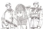 1girl 2boys ak-74 assault_rifle brown_theme character_request closed_mouth dated gun helmet holding holding_gun holding_weapon horikou kagamihara_nadeshiko long_sleeves military military_jacket military_uniform monochrome multiple_boys over_shoulder parted_lips pouch real_life rifle signature simple_background smile soldier soviet soviet_union sweatdrop uniform weapon weapon_over_shoulder white_background yurucamp