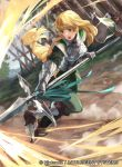 1girl armor bangs blonde_hair blunt_bangs braid breastplate breasts company_name copyright_name day dirt fire_emblem fire_emblem:_three_houses fire_emblem_cipher full_body gauntlets grass green_eyes headwear_removed helmet helmet_removed holding holding_spear holding_weapon ingrid_brandl_galatea long_hair long_sleeves mayo_(becky2006) medium_breasts official_art open_mouth outdoors polearm running shin_guards solo spear teeth watermark weapon