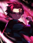 1boy absurdres checkered dbeka0622 earrings facial_mark haori highres holding holding_sword holding_weapon japanese_clothes jewelry kamado_tanjirou kimetsu_no_yaiba looking_at_viewer male_focus red_eyes redhead scar solo sword upper_body weapon