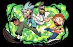 2boys belt blue_shirt brown_hair copyright_name flying_sweatdrops grey_hair highres holding labcoat male_focus morty_smith multiple_boys open_mouth pants rariatto_(ganguri) rick_and_morty rick_sanchez shirt sweat twitter_username yellow_shirt