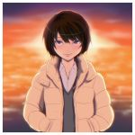 1girl amagami bangs black_hair black_sweater_vest blurry blurry_background bob_cut brown_coat coat collarbone commentary dress_shirt eyelashes hair_between_eyes hair_strand hands_in_pockets highres hood hood_down kibito_high_school_uniform light_blush light_smile lips looking_at_viewer nanasaki_ai ocean oshizu puffy_coat red_sky school_uniform shirt short_hair sky solo sunset sweater_vest twilight upper_body upturned_eyes violet_eyes white_shirt