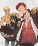 3boys abs bangs bara beard belt beowulf_(fate/grand_order) black_hair blonde_hair blue_eyes brown_hair cake chest chocolate chocolate_cake collar epaulettes facial_hair fate/grand_order fate_(series) food fringe_trim goatee holding jacket long_hair long_sleeves looking_at_viewer male_focus manly military military_uniform multiple_boys muscle napoleon_bonaparte_(fate/grand_order) open_clothes open_jacket open_mouth open_shirt original pants pectorals petting plate raised_eyebrow scar shirtless sideburns signature simple_background smile sol_ferrari tattoo unbuttoned uniform upper_body