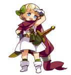 1girl bangs blonde_hair blue_eyes blunt_bangs blush boots bow bright_pupils commentary_request dragon_quest dragon_quest_v dress full_body gloves green_bow green_legwear hair_bow hand_on_hip hand_up hero's_daughter_(dq5) mota open_mouth pouch red_scarf scarf shading_eyes short_hair simple_background sleeveless sleeveless_dress smile socks solo sword weapon white_background white_dress white_footwear white_gloves white_pupils